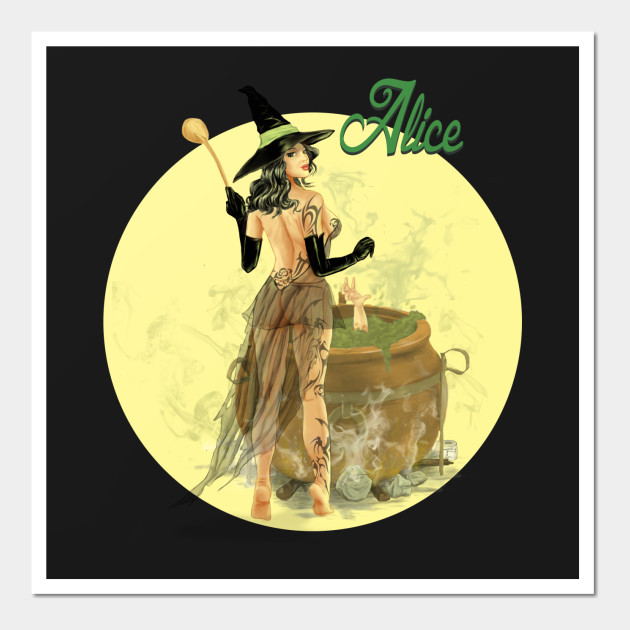 Alice The Witch Pin Up Girl - Pin Up Girl - Wall Art | TeePublic