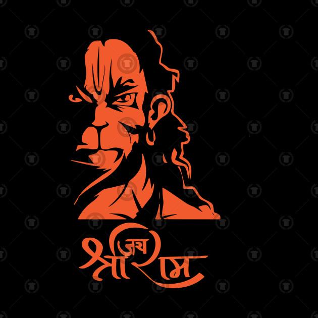 Hanuman Hindu God Jai Shri Ram by alltheprints