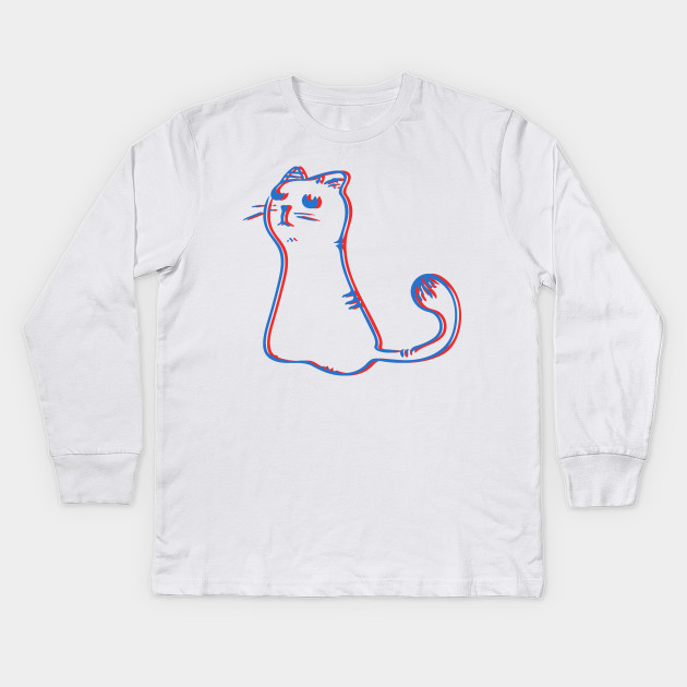de34fbae8f7f 3D Cat - Film - Kids Long Sleeve T-Shirt