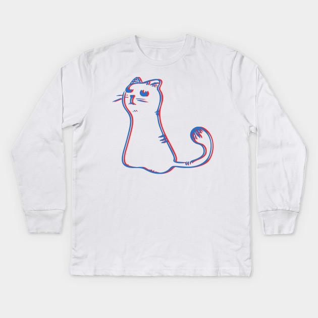 9822af79bce4 3D Cat - Film - Kids Long Sleeve T-Shirt