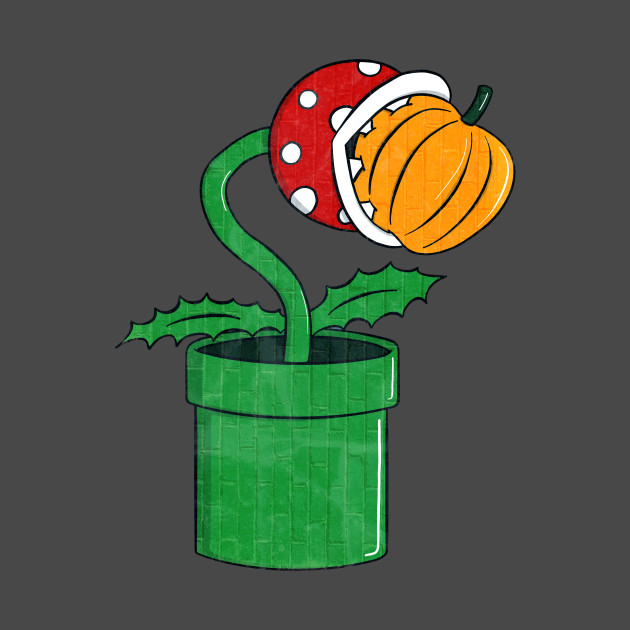 Piranha Plant Eating Pumpkin