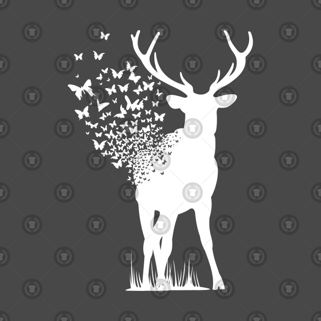 Big Buck Series: Buck Dissipating into Butterflies (White Graphic)