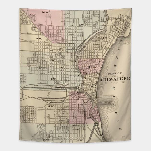 Vintage Map Of Milwaukee Milwaukee Map Tapestry TeePublic - Vintage milwaukee map
