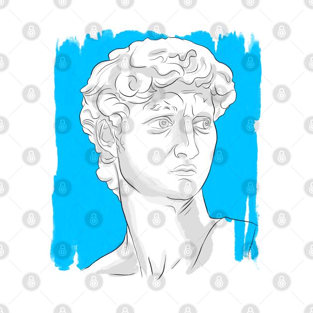 Denizko Art Statue Head Blue