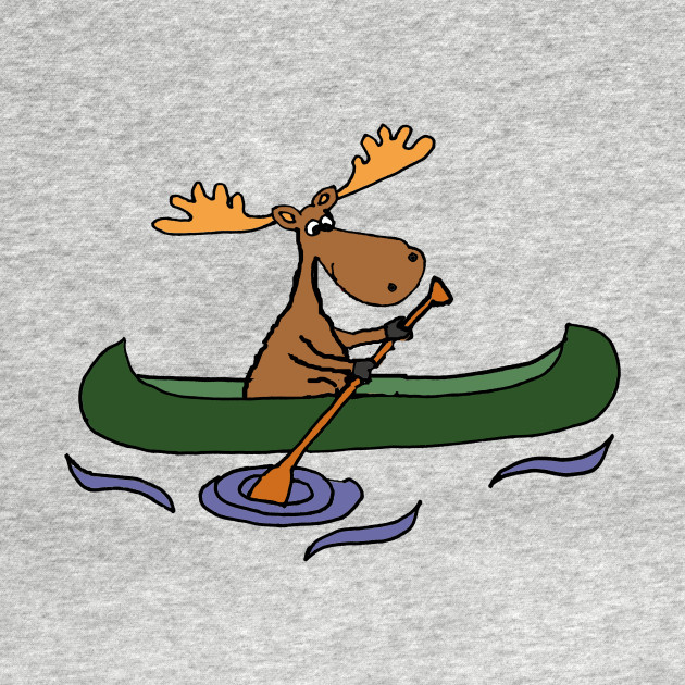 Funny Moose Canoeing Cartoon