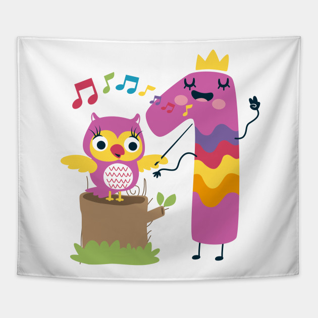 First 1 Birthday Toddler Girl Daughter Niece Owls Cute Sweet One Year Old Mug Sticker Pillow Gifts Ideas Tapestry