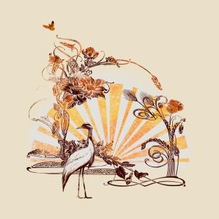rising sun art nouveau t-shirts