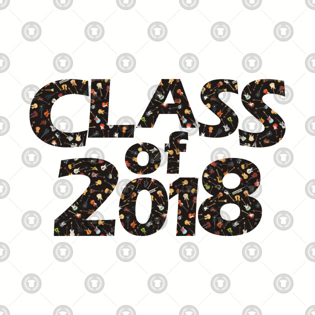 Class of 2018 Black Silhouette Filled with Guitars