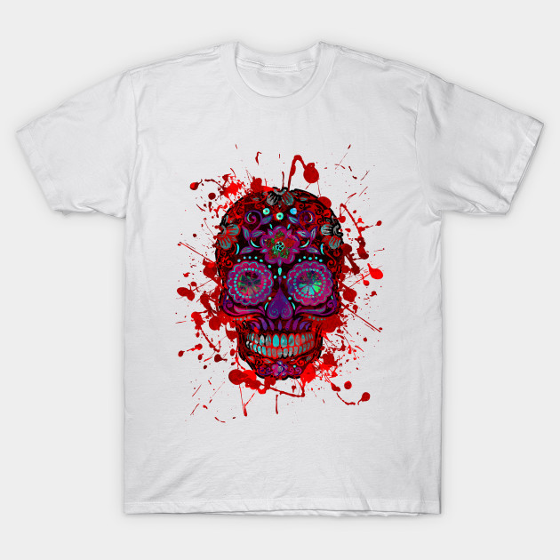 Funny Mexican Sugar Skull red grunge T-Shirt-TOZ