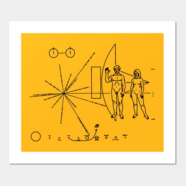 Pioneer 10 Plaque - Pioneer Plaque - Wall Art | TeePublic