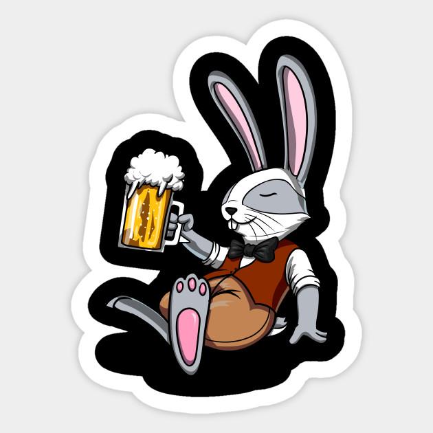 Funny Rabbit Beer Drinking Bunny Rabbit Beer Sticker Teepublic Uk
