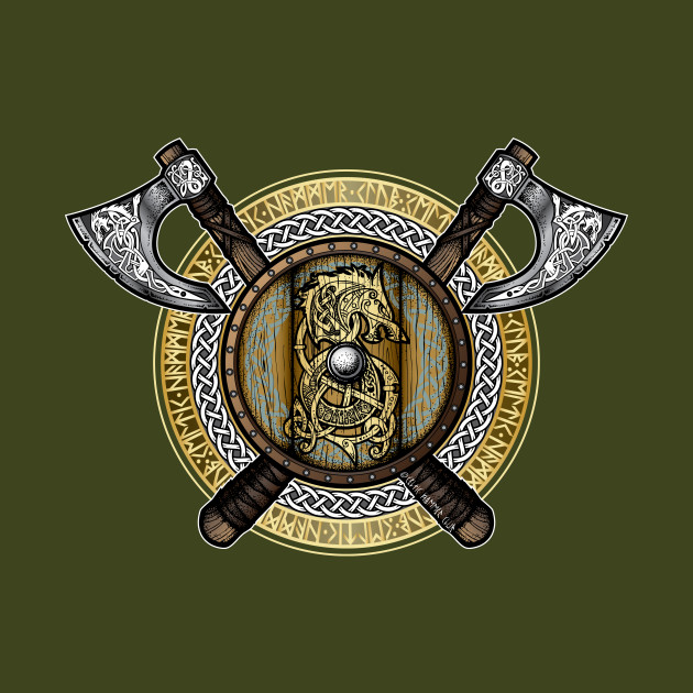 Fenrir Viking Shield (Full Color) - Vikings - Kids T-Shirt ...