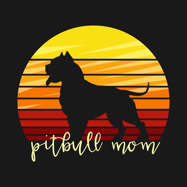 Pitbull Mom Dog Gift Vintage Retro Colors