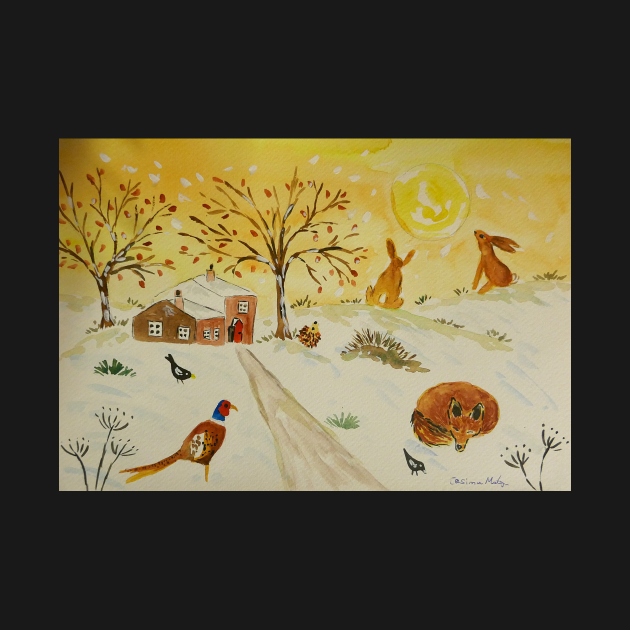 Fox, Hares and Pheasant in the Snow and Sun