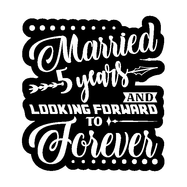 Married 5 Years Shirt For 5th Wedding Anniversary 5th Wedding Anniversary Gifts Sticker Teepublic