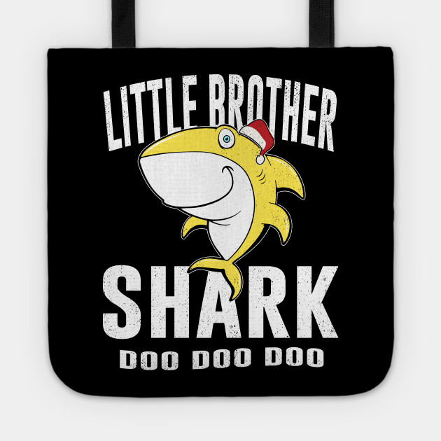 Little Brother Shark TShirt Birthday Thanksgiving Christmas Tote
