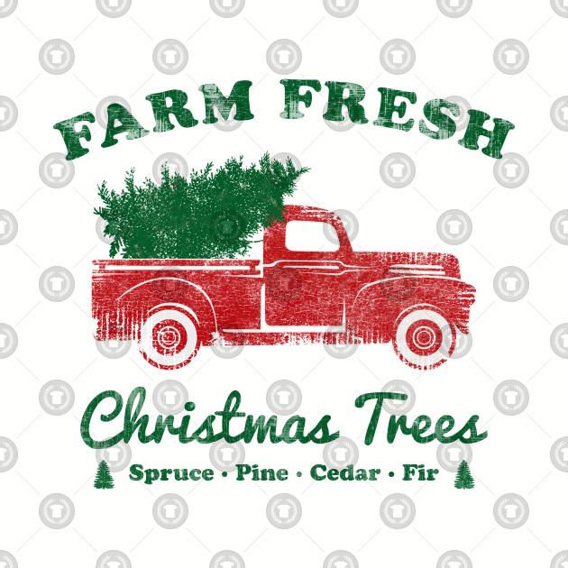 Farm Fresh Christmas Trees.Vintage Red Truck Farm Fresh Christmas Tree By Meowstudio
