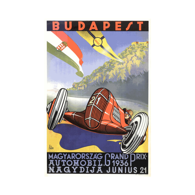 Hungarian Grand Prix, Budapest 1936: Vintage Poster Design