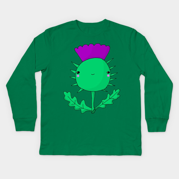 f1df26236 Kawaii Cute Scottish Thistle - Kawaii - Kids Long Sleeve T-Shirt ...
