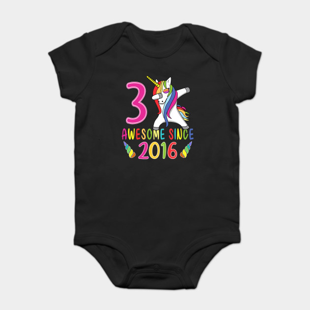 Kids 3 Years Old 3rd Birthday Unicorn Shirt Girl Daughter Gift Onesie