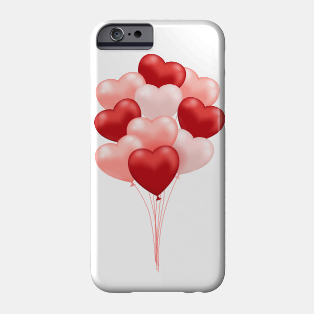 Valentine Balloons Heart Balloons Red White Phone Case