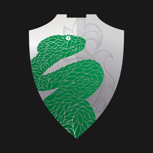 Slytherin Silver and Green Snake Shield