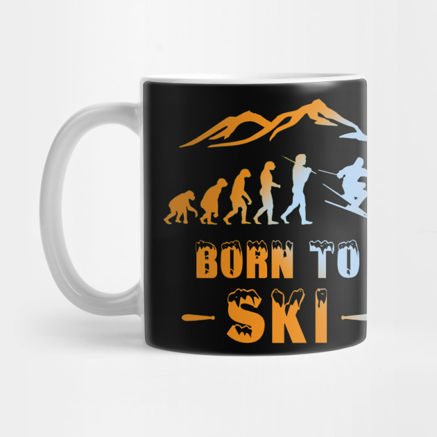 Ski evolution Born to Ski snow cool Mug