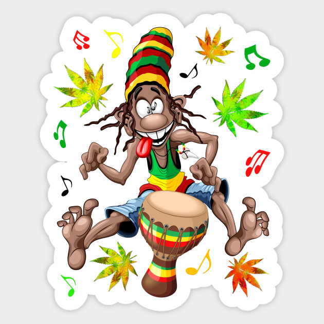 Rasta Bongo Musician funny cool cartoon character
