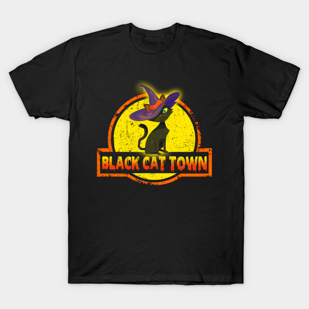 Blact Cat Town Halloween Shirts Gifts on October 31 T-Shirt-TOZ