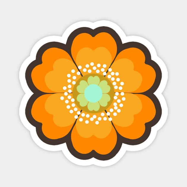 Magenta 70s Flower Magnet