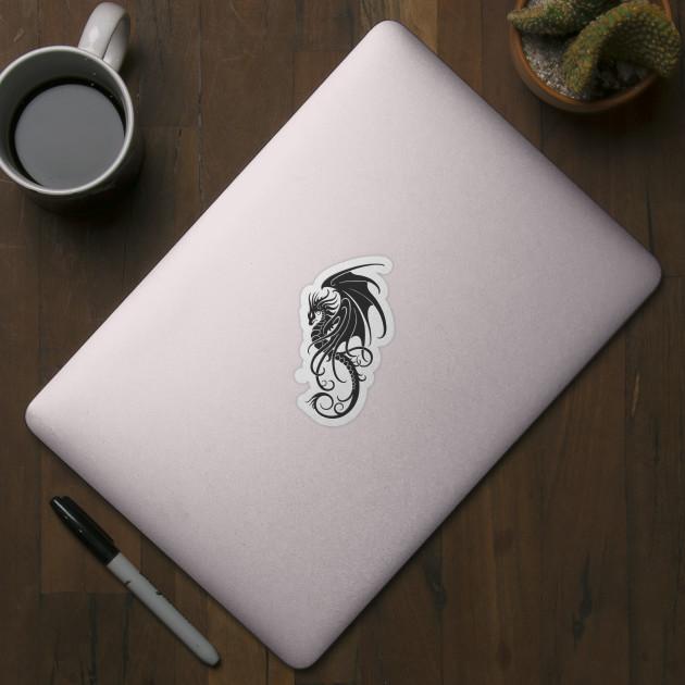 a8375f671 Flying Dark Tribal Dragon - Dragon - Sticker | TeePublic