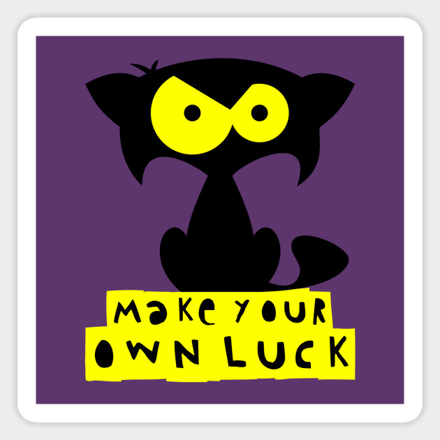 f79876d87 Funny black cat T-shirt – Make your own luck (Mozart) – purple ...
