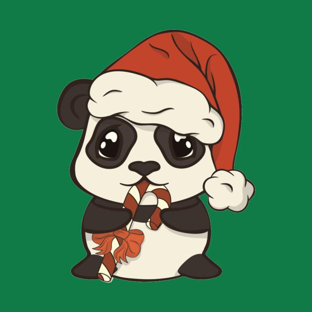 Cute Christmas panda bear in red Santa's hat with pompon eat sugar lollipop striped stick