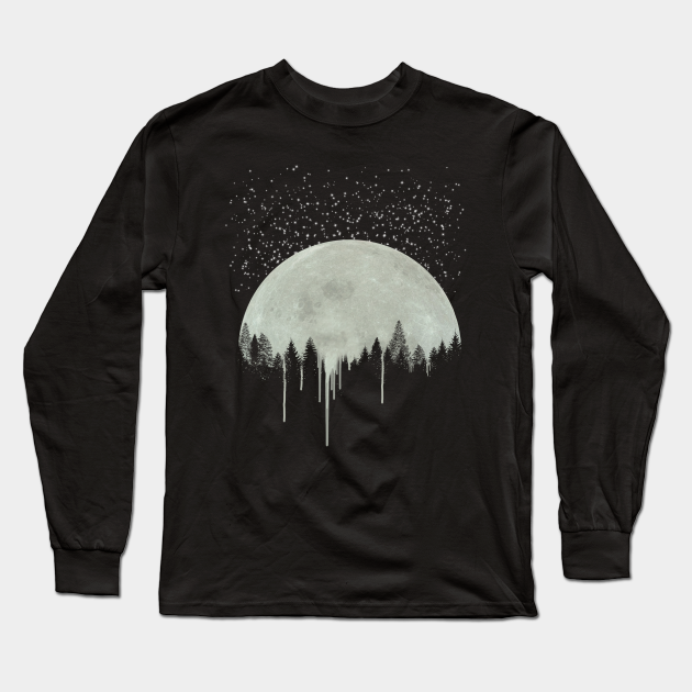 Full Moon Art Forest Trees Silhouette Dripping Paint Gray Gift Idea For Her For Him Moon Phases Stary Night Stars Moon Long Sleeve T Shirt Teepublic
