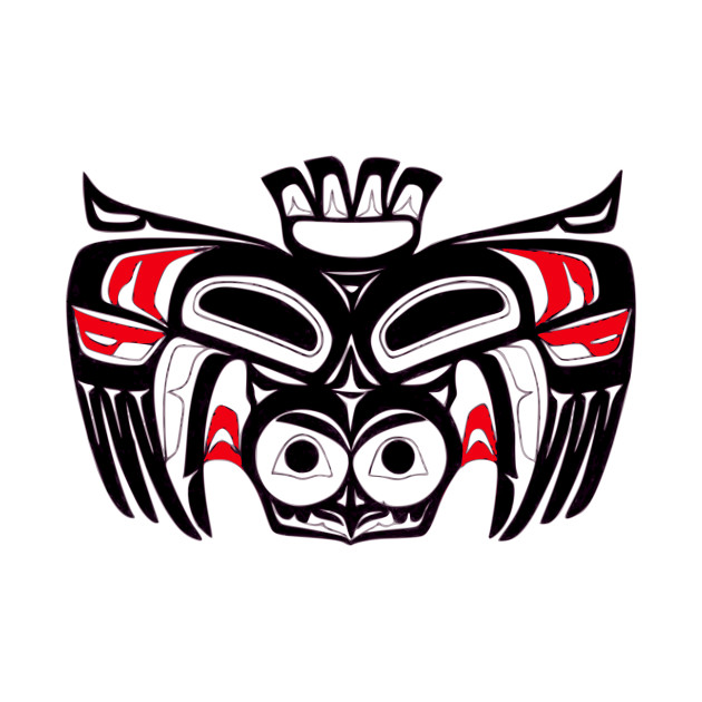 Pacific Northwest Native American Indian Owl Bird Totem Art