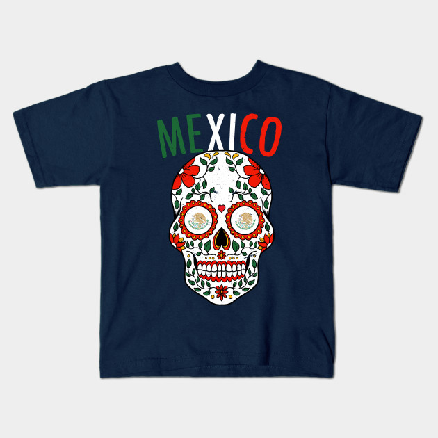 Calavera Mexico World Cup Team Flag Soccer Jersey Mexico 2018 Kids T-Shirt d075078296ca