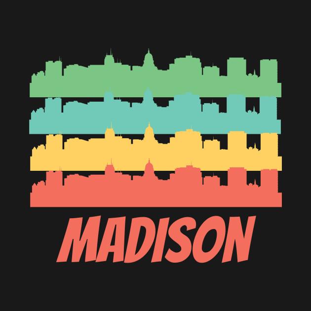 Retro madison wi skyline pop art madison t shirt teepublic 1000540 1 publicscrutiny Choice Image
