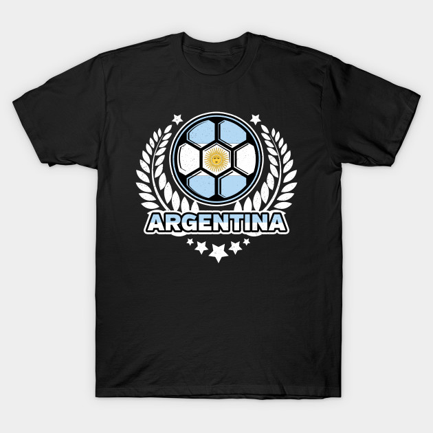 Distressed Flag of Argentina Soccer Ball Victory Laurel Wreath T-Shirt