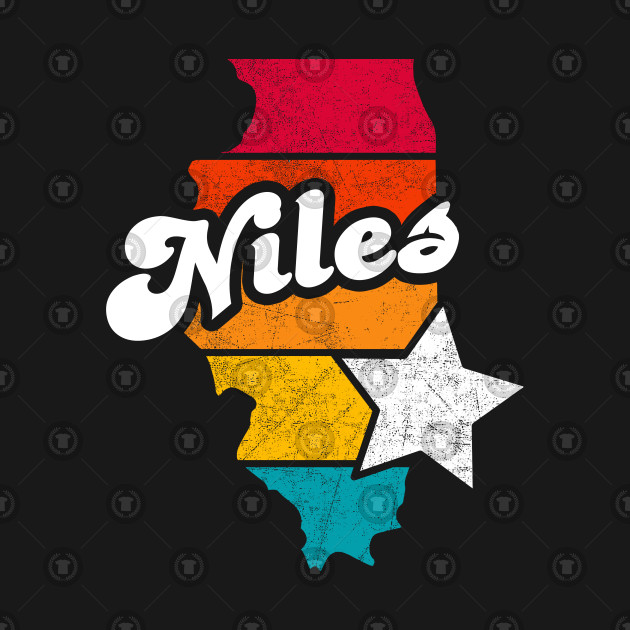 Niles Illinois T-Shirt Vintage City Retro Souvenir US State Silhouette Lover Gift With Star