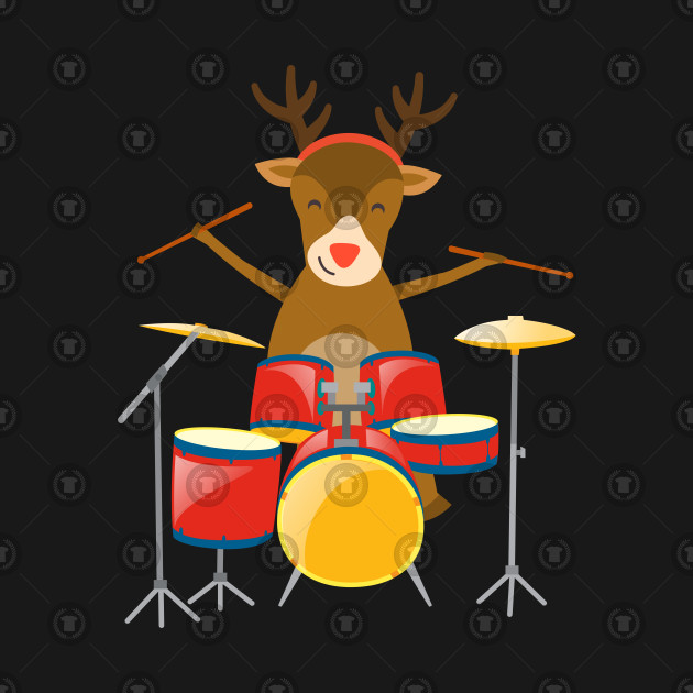 Christmas Drummer.Christmas Drummer Reindeer Drum Set Holidays Percussionist Winter Holiday Season
