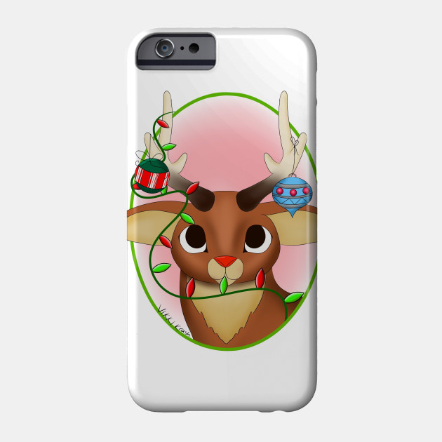 Rudolph with Christmas decorations Phone Case