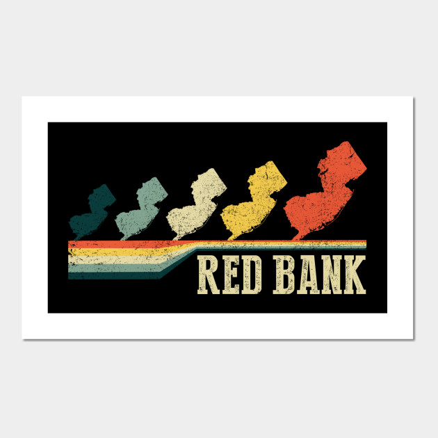 Retro Design Bank.Red Bank Retro Vintage Style New Jersey State T Shirt Red Bank