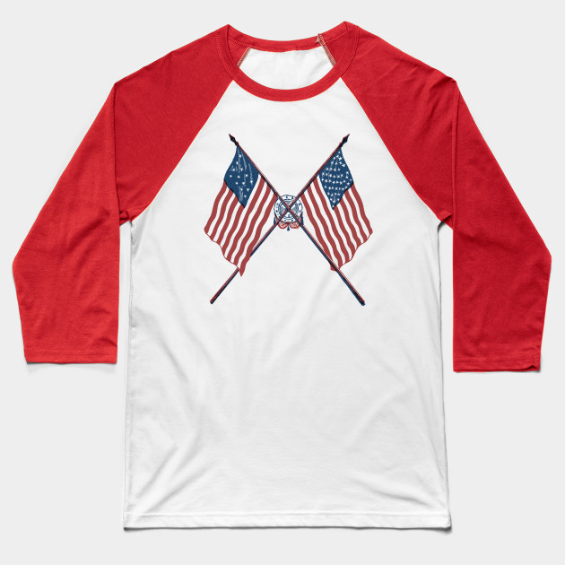 Patriotic Vintage Crossed American Flags 13 Colonies Baseball T-Shirt
