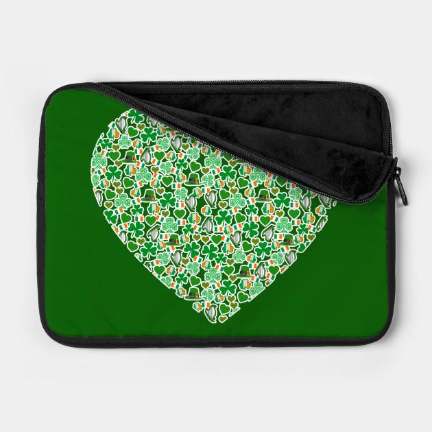 Irish Heart with Harps and Shamrocks