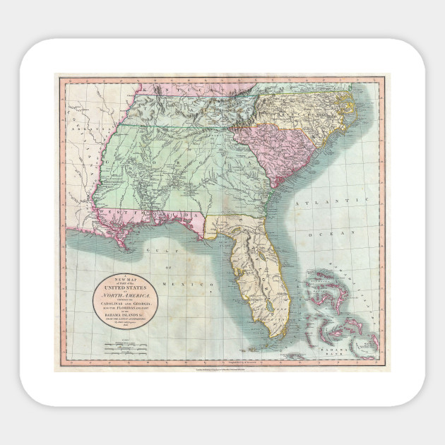 Vintage Map of The Southeastern U.S. (1806)