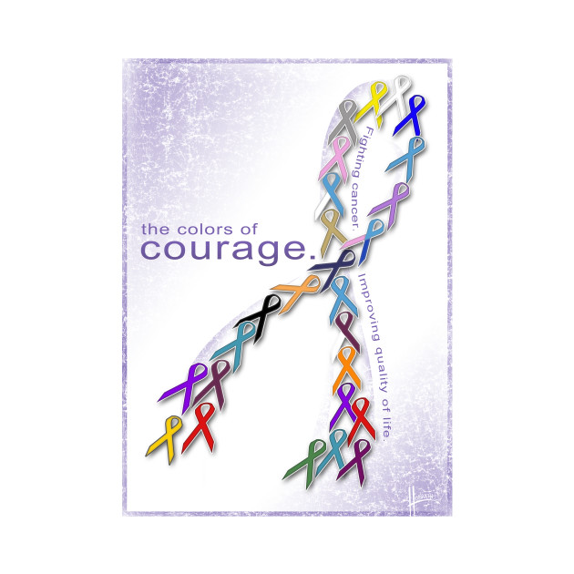 the colors of courage cancer awareness ribbons cancer t shirt