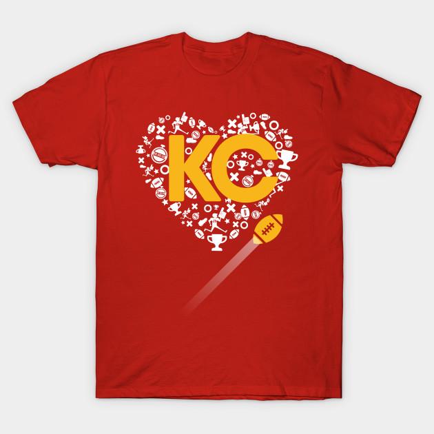 I Love Chiefs Football Ladies T-Shirt Kansas City Heart