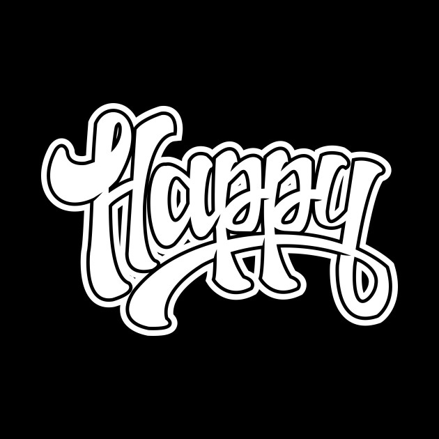 happy hand lettering t-shirt