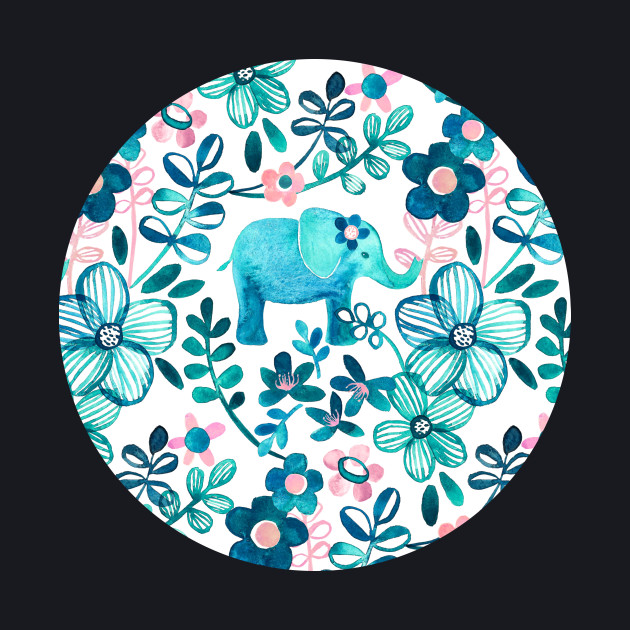 Dusty Pink, White and Teal Elephant and Floral Watercolor Pattern