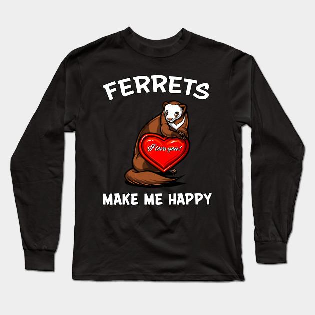 I Love Heart Ferrets Ladies T-Shirt